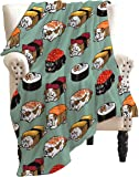 ARRISUM Sushi English Bulldog Blanket Novelty Soft Flannel for Adult and Kids Giant Funny Realistic Food Lightweight…