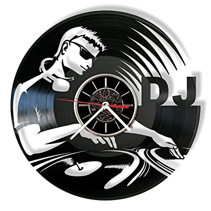 Amazon com: DJ Vinyl Record Wall Clock - Handmade Gift for