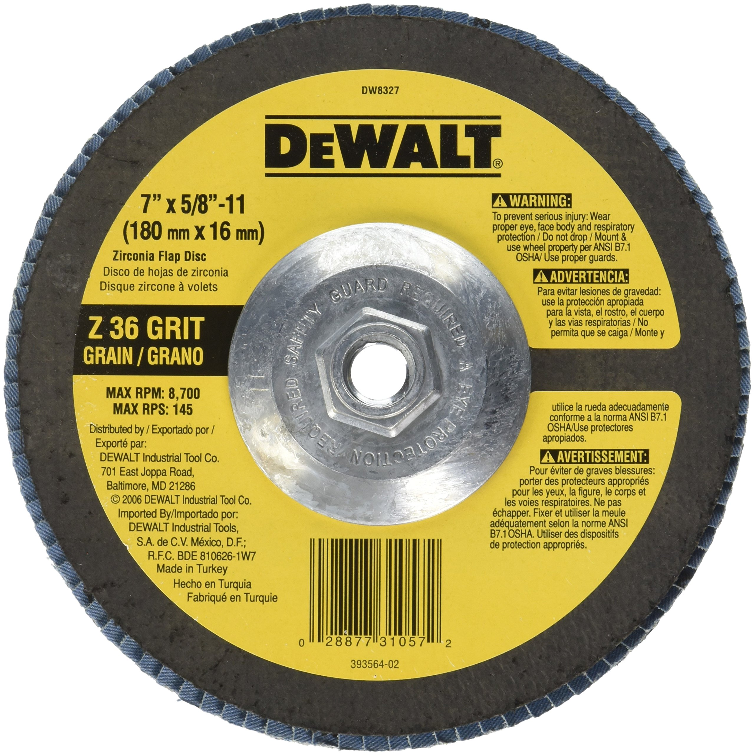 DEWALT DW8327 7-Inch by 5/8-Inch-11 36 Grit Zirconia Angle Grinder Flap Disc