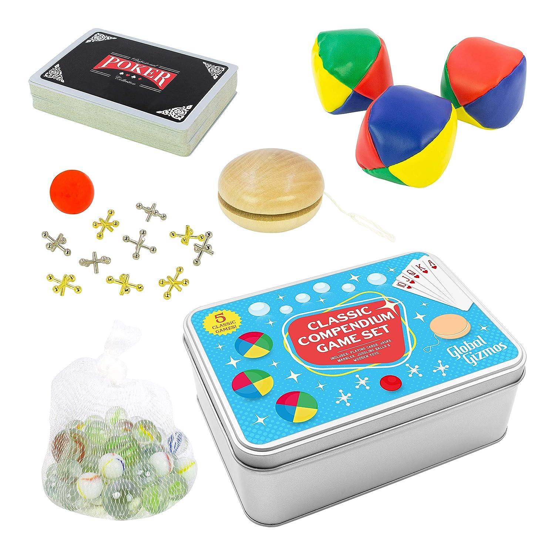 Antyki i Sztuka 5 in 1 Travel Game in a TIN BOX Gift Set Kids Marbles Jacks Poker Playing Cards Kulki do gry