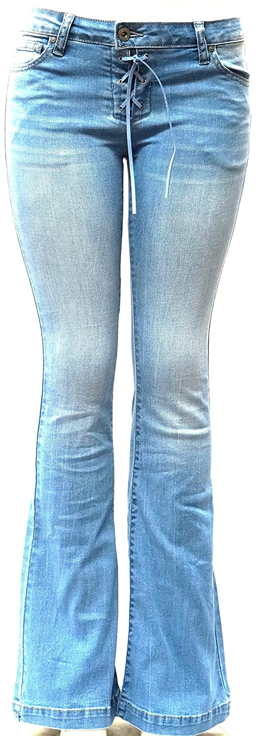 WAX / Jack David JEANS Womens Juniors 70s Trendy Slim Fit Flared Bell Bottom Denim Jean Pants