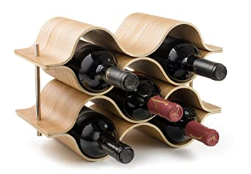 Amazoncom Brever 6 Bottle Wooden Wave Wine Rack Freestanding For