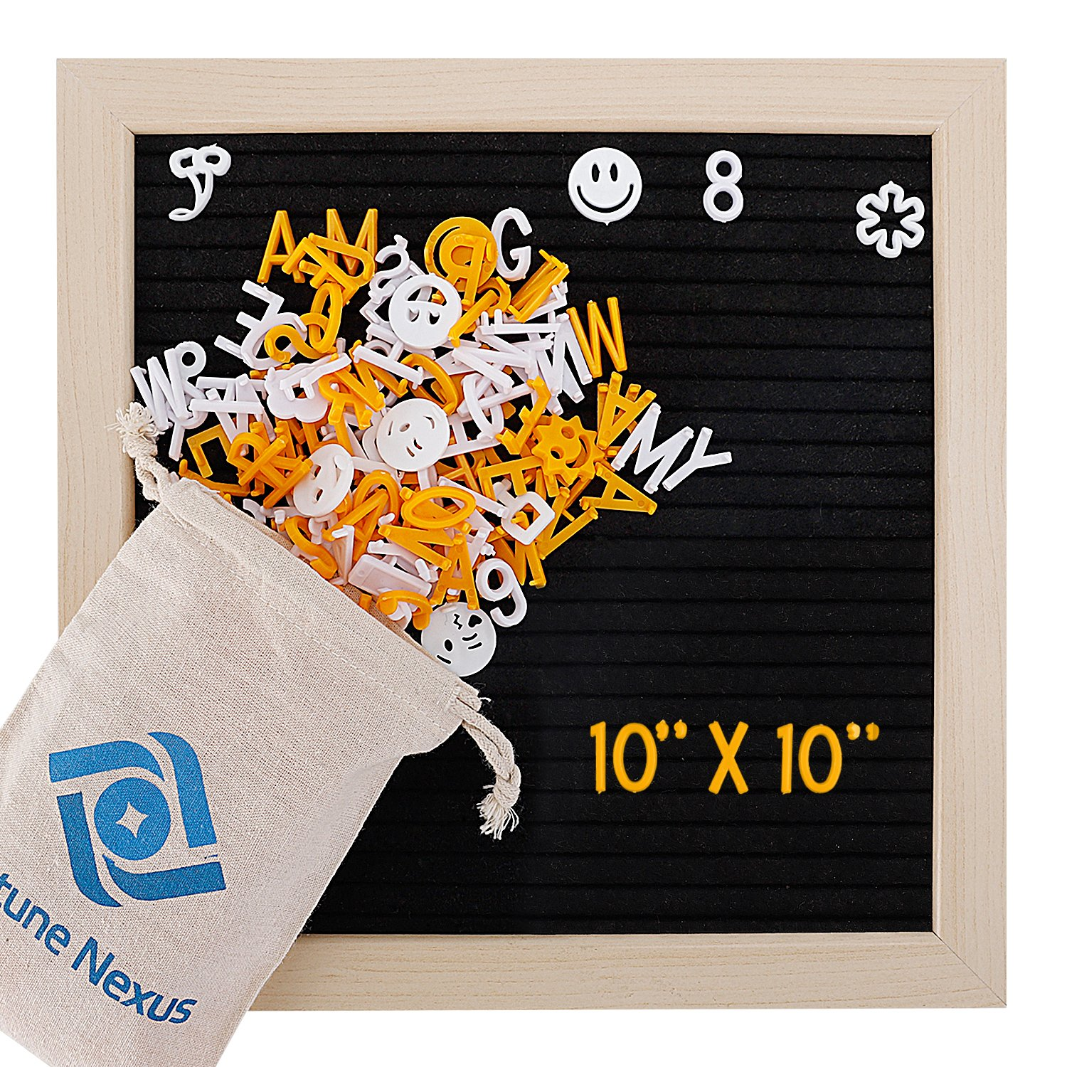 Black Felt Letter Board 10x10 inches. Changeable Letter Boards Include 380 White & Orange Plastic Characters & Oak Frame with Back Stand & Mounting Hook & Canvas Bag