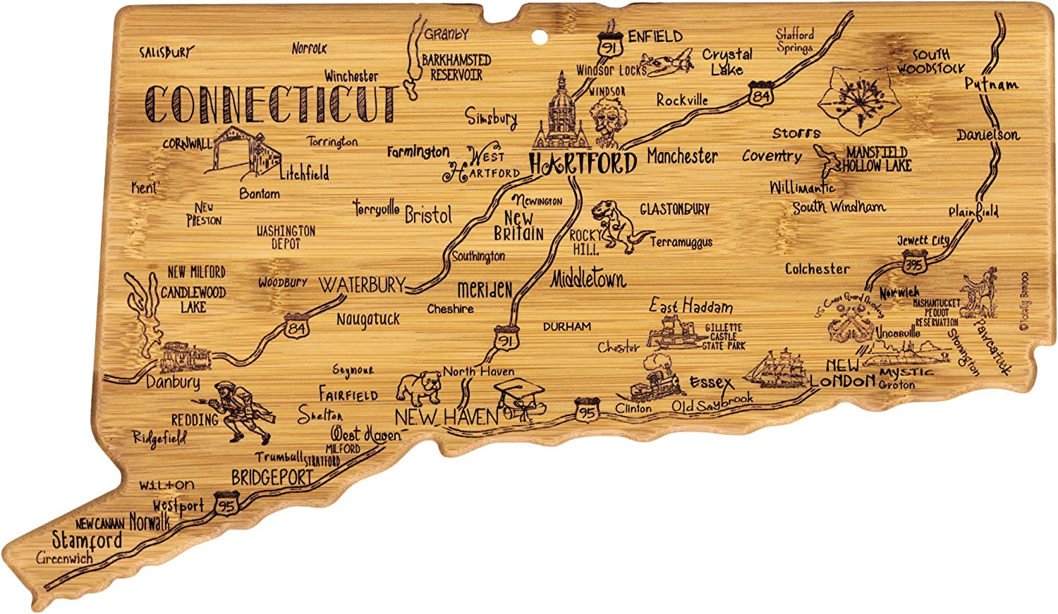 Totally Bamboo Connecticut State Destination Bamboo Serving and Cutting Board