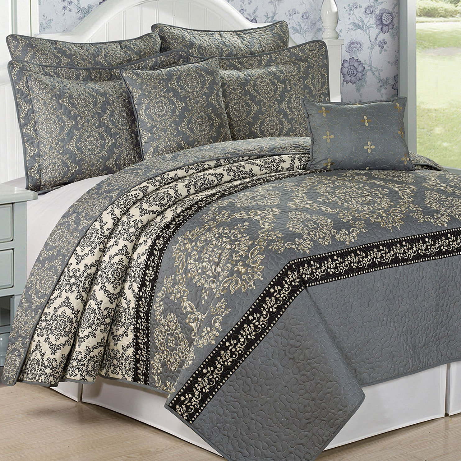 7 Piece Mystic Bedspread Quilts Set, King, Charcoal