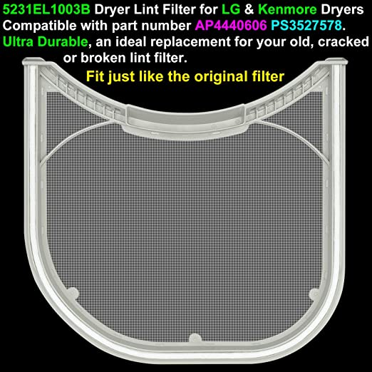 Compatible with PS3527578 Lint Filter 2-Pack 5231EL1003B Dryer Lint Filter Replacement for LG DLEX2550W