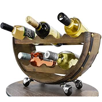 Geezy Large Trolley On Wheels Wine Bottle Holder Display Storage