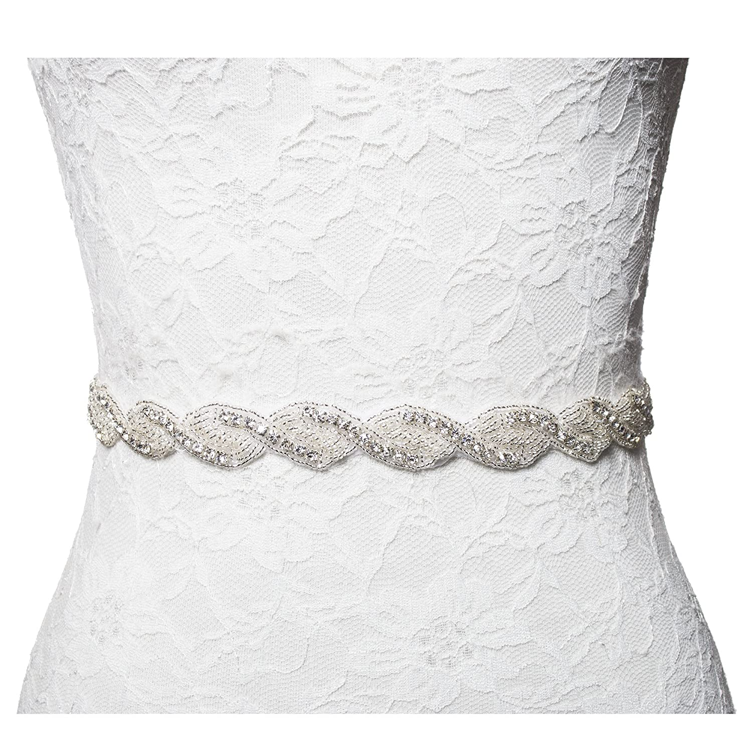 Thin Wedding Bridesmaid Dress Rhinestone Bridal Sash Belt with Crystal & Beads