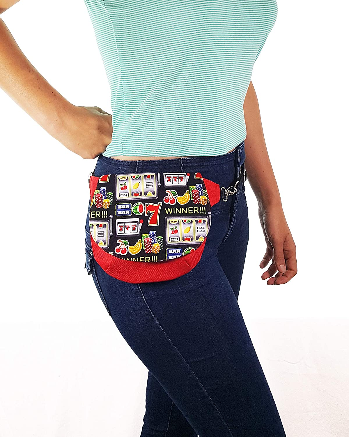 New Neon Green 3 pockets fanny pack with imprinted  /'Las Vegas/'