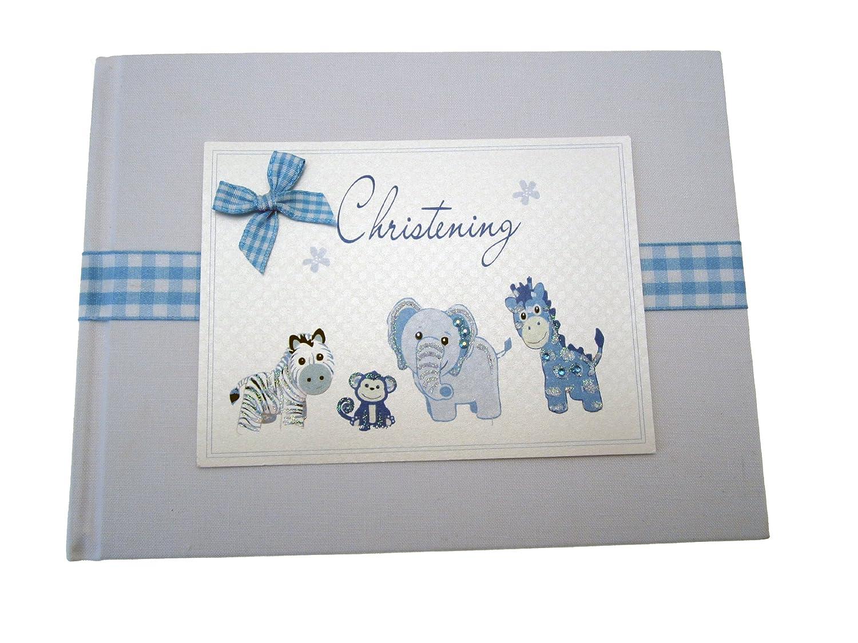 White Cotton Cards Album photo de baptême (Petit, bleu)