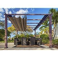 Paragon Outdoor PR11WD2C Backyard Structure Soft Top with Chilean Ipe Frame Valencia Pergola, 11' x 11' Cocoa