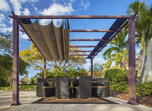 ALISUN Sling Canopy with Ties for The Lowe s Allen roth 10 ft x 10 ft Tan Black Material Freestanding Pergola L-PG152PST-B