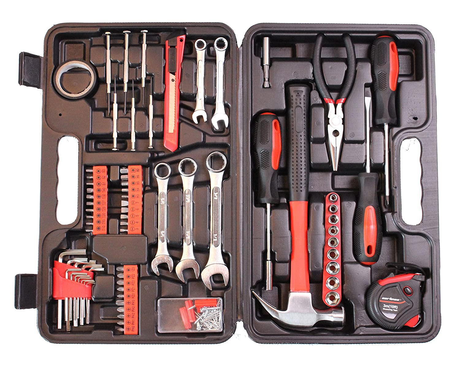69f6b7fb91c Amazon.com  CARTMAN 148-Piece Tool Set - General Household Hand Tool Kit  with Plastic Toolbox Storage Case  Automotive