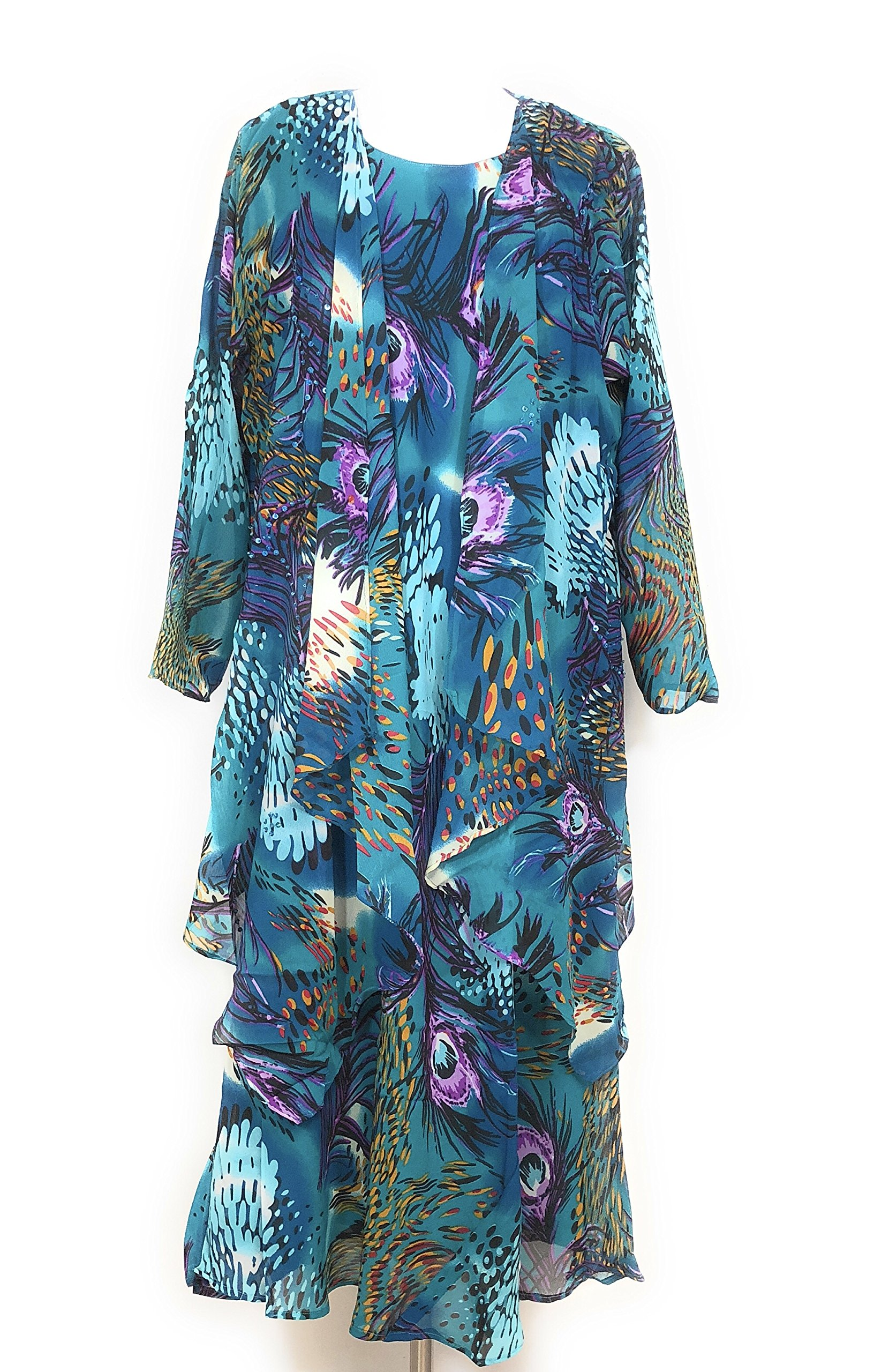 Jacket Dress - Women's Plus Size Set Embellished With Beads and Sequins (2X, Teal Blue)