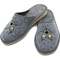 ABsoft - Pantuflas para mujer de 100 % fieltro con gatos bordados