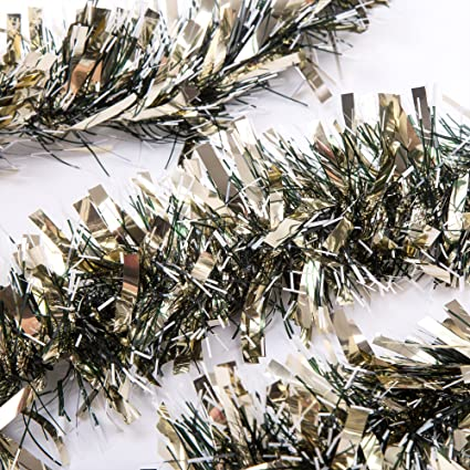 sanno 3 pcs 66 ft christmas tinsel garland thick and full tinsel sparkly classic party