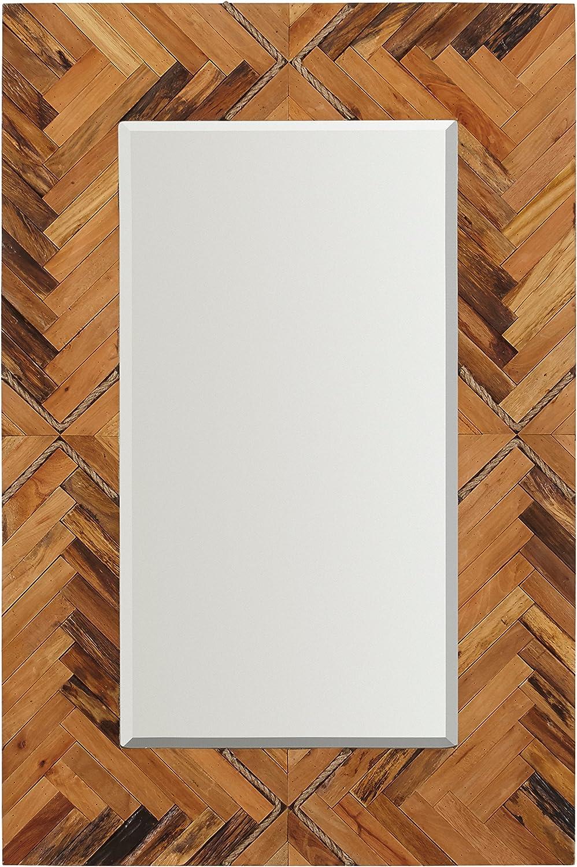 "Stone & Beam Rustic Wood and Rope Geo Mirror, 36"" H, Natural"