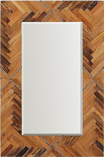 Amazon Brand Stone Beam Rustic Wood and Rope Geo Mirror, 36 H, Natural
