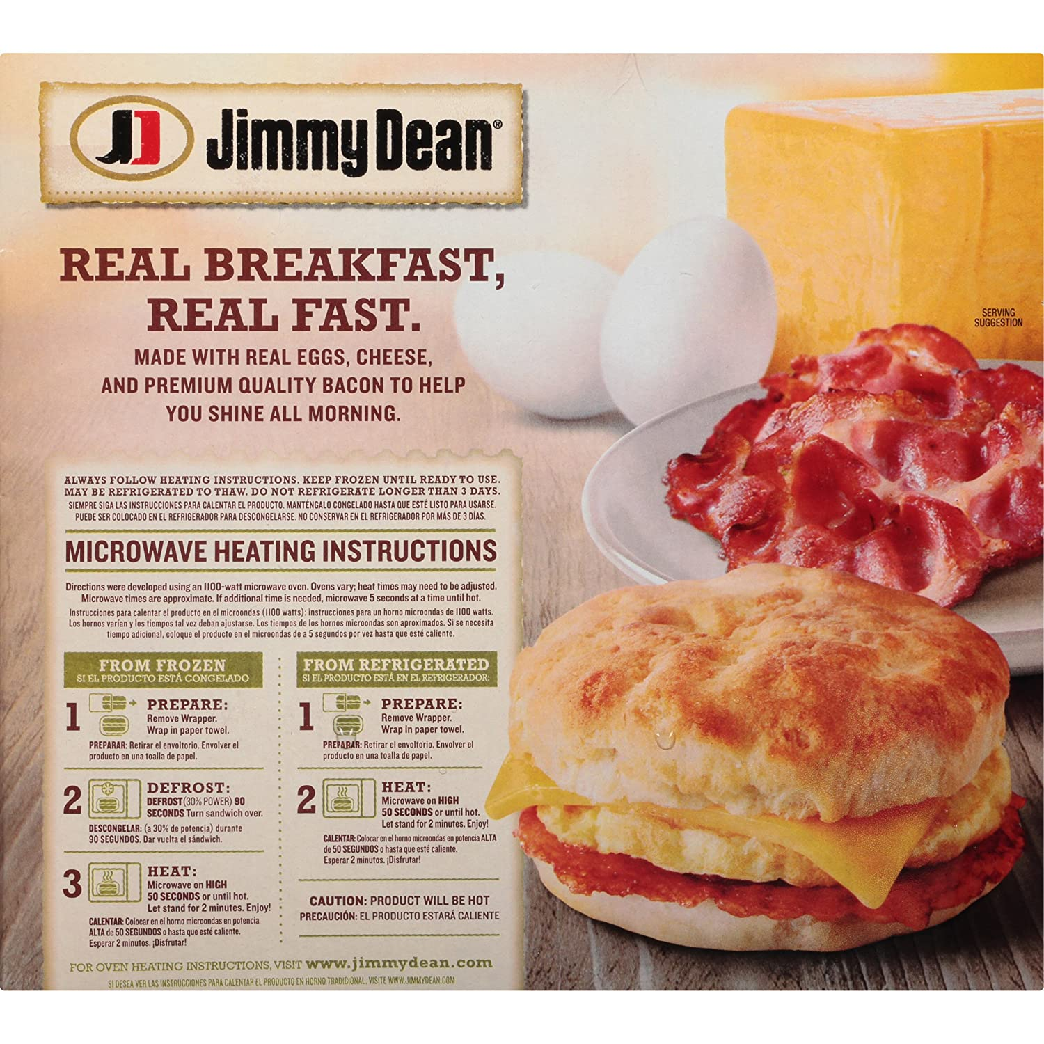 Jimmy Dean Bacon, Egg & Cheese Biscuit Sandwiches, 8 Count (Frozen): Amazon.com: Grocery & Gourmet Food