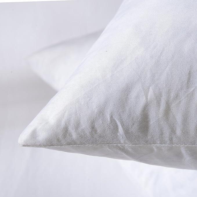 con funda 100/% algod/ón Coj/ín de plumas de pato lavable a m/áquina HOMESCAPES tejido a prueba de plumas relleno interior