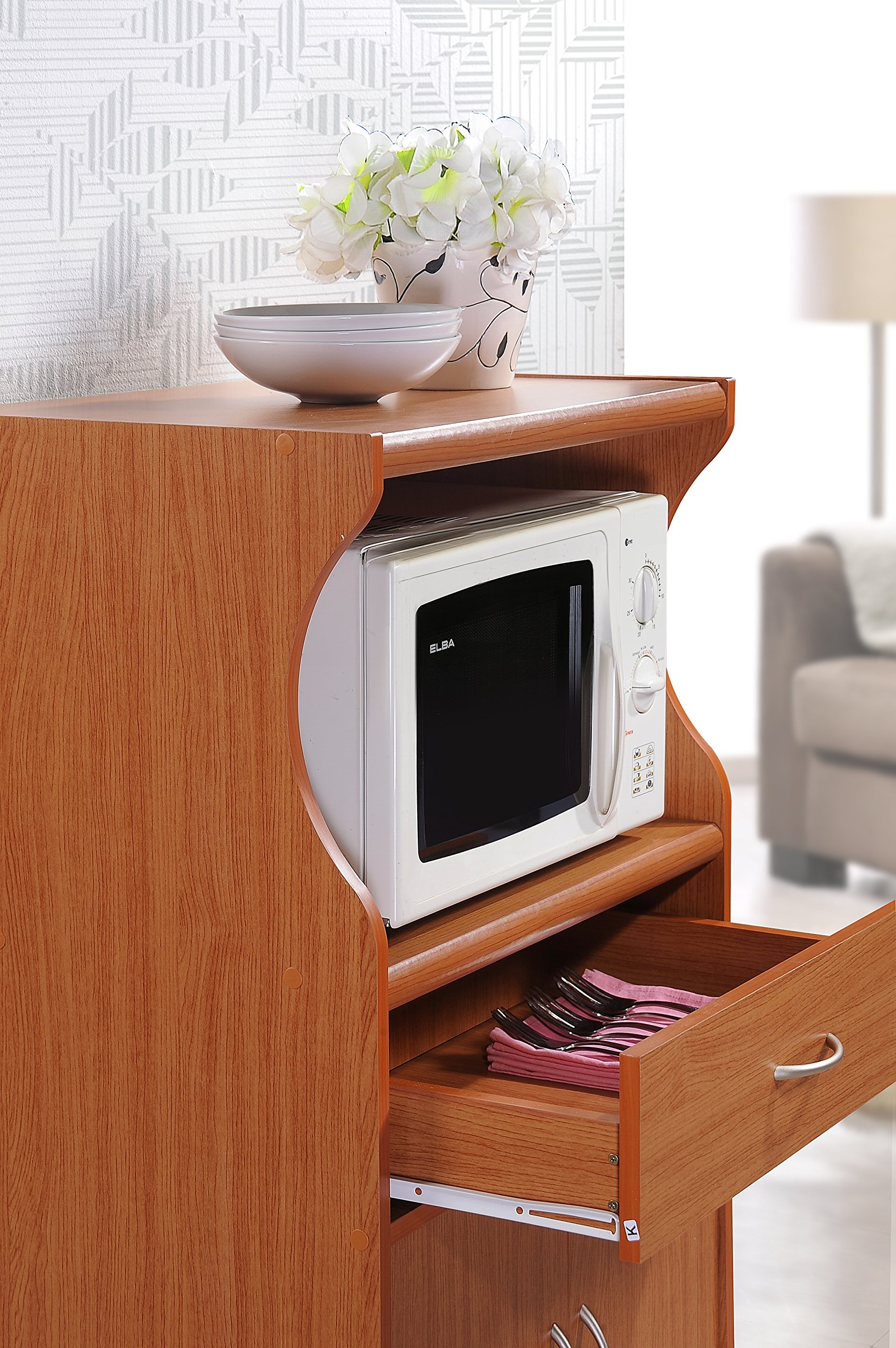 Hodedah Microwave Cart with One Drawer, Two Doors, and Shelf for Storage, Cherry by HODEDAH IMPORT (Image #5)