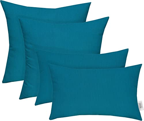 RSH D cor Set of 4 Indoor Outdoor Square Rectangle Lumbar Throw Pillows Made of Sunbrella Spectrum Peacock 20 x 12 20 x 20