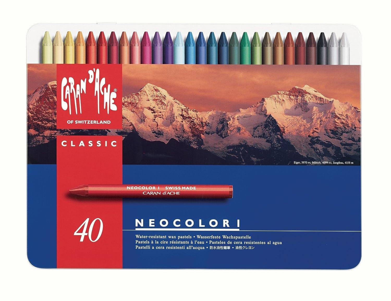 Caran D'Ache Neocolor I - Crayons Pastels cire soluble dans l'eau - Boîte de 40