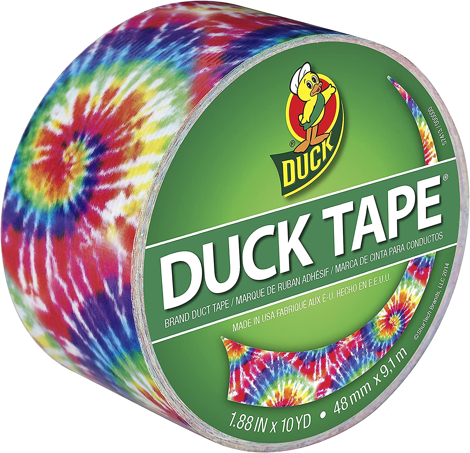 Duck Brand 283268 Love Tie Dye Printed Duct Tape, 1.88 Inches x 10 Yards, Single Roll