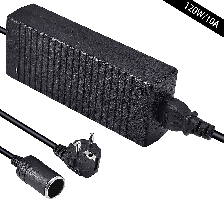Comaie Convertisseur Transformateur [220V/230V/240V vers 12V] Adaptateur d'alimentation Électronique 120W 12V Adaptateur de Puissance Prise d'Allume-Cigare de Voiture AC à DC Adaptateur Secteur