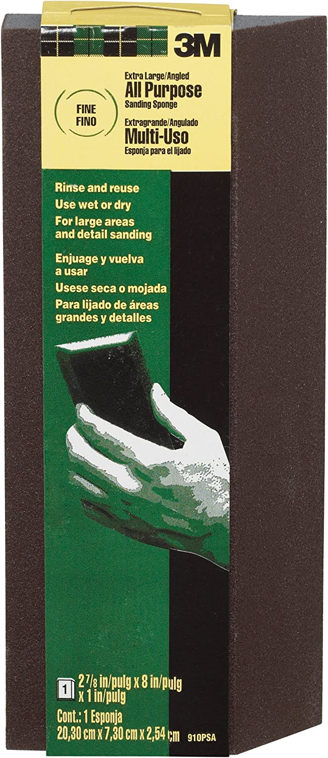 3M 910PSA Sanding Sponge, Extra Large, Single Angle,Black,Extra Large