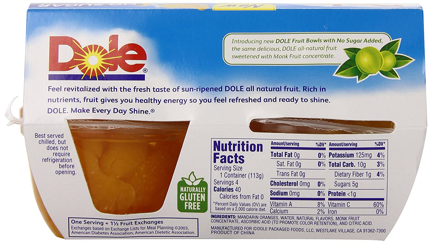 Dole Fruit Cups Nutrition Facts - Nutrition Ftempo