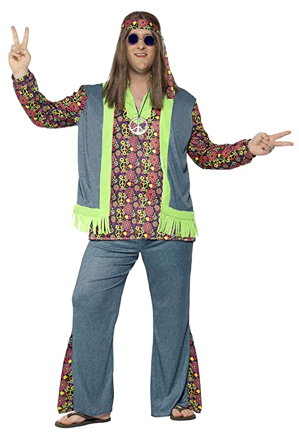 60s -70s  Men's Costumes : Hippie, Disco, Beatles Smiffys Plus Size Hippie Costume $56.83 AT vintagedancer.com