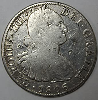 1806 MX Silver 8 Reales Pillar Dollar 8R High Grade With Stamp Marks At Amazons Collectible Coins Store