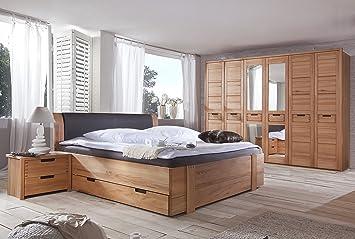 Schlafzimmer Set mit Bett 200x200 cm Kernbuche teilmassiv: Amazon.de ...