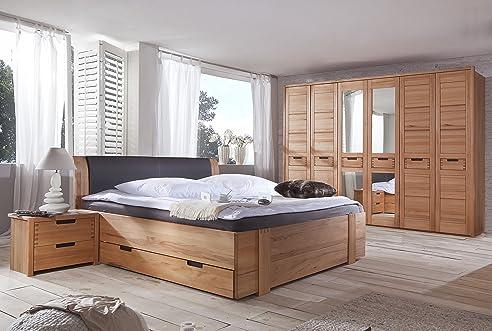Schlafzimmer Set mit Bett 200x200 cm Kernbuche teilmassiv: Amazon ...