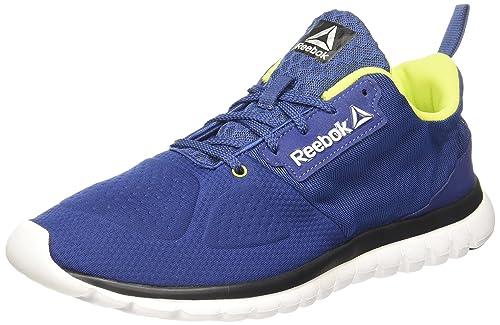 f038c023e Reebok Men s Sublite Aim 2.0 Blue Yllw Slvr Wht Running Shoes - 9 UK ...