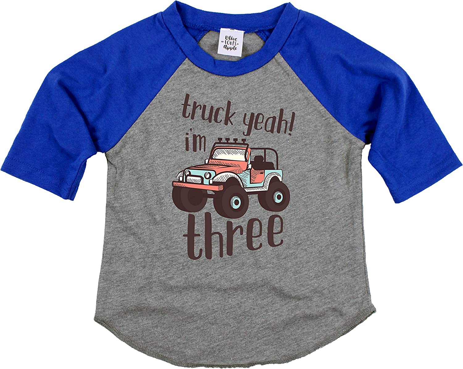 Olive Loves Apple 3rd Birthday Truck Yeah Im Three Shirt Third Birthday Truck Themed Outfit for Boys