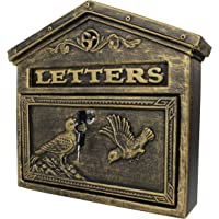 Locking Wall Mounted Mailbox - Aluminum Bronze Vintage with Bird Design - Residential Locking Secure Letter Mail Box