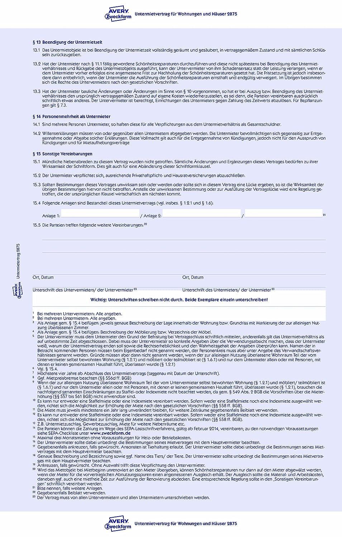 mietvertrag a4 m hausordnung zweckform 2850 6seitig ve 5 avery
