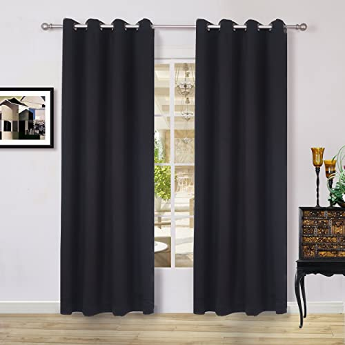 Lullabi Solid Thermal Blackout Window Curtain Drapery, Grommet, 84-inch Length by 54-inch Width, NIGHT BLACK, Set of 2 Panels