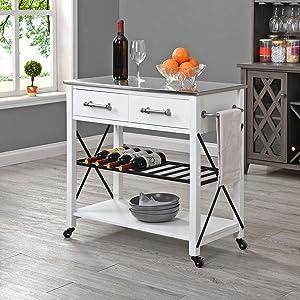FirsTime & Co. White Steel Aurora Farmhouse Kitchen Cart, American Designed, White, 31.5 x 16 x 31.5 inches (70256)