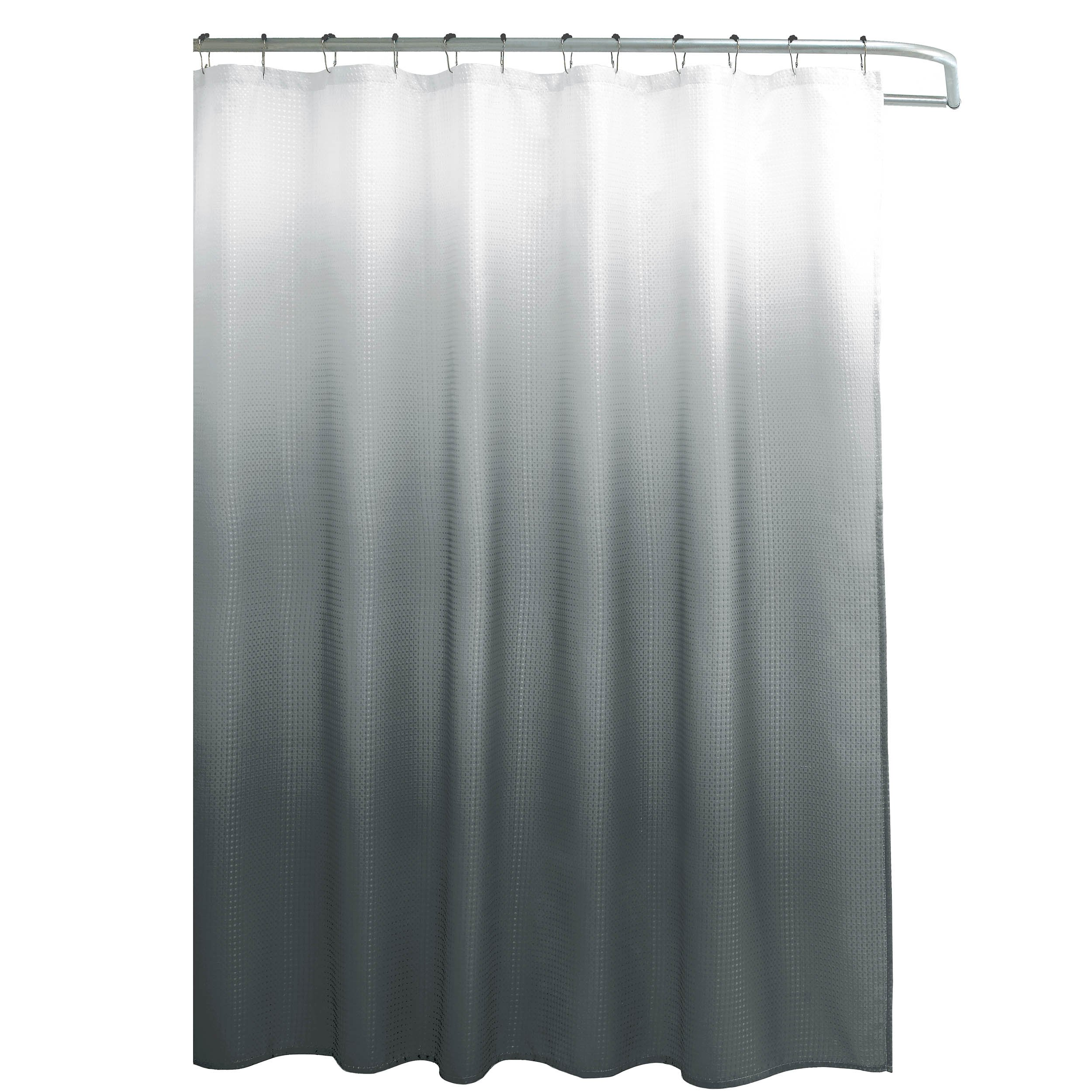 Natural Home Ombre Textured Shower Curtain With Beaded Rings Dark Grey