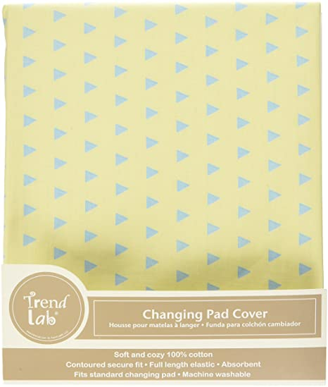 Amazon.com: Trend Lab Triangles Changing Pad Cover, Yellow and Aqua: Baby