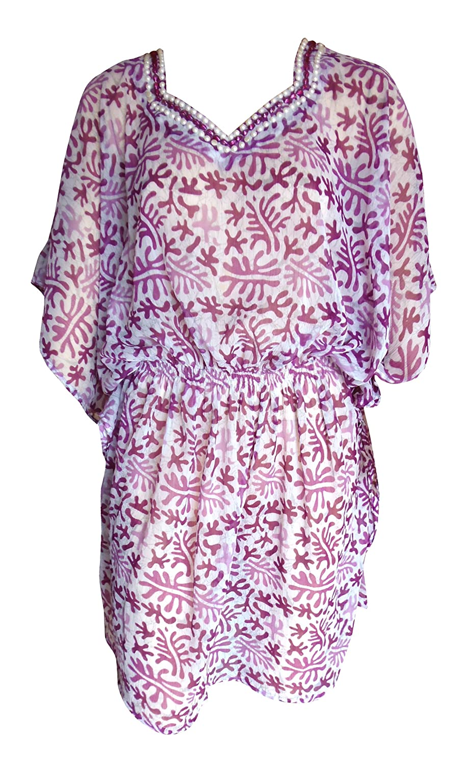 SUNROSE Purple Printed Hand Work Sheer Plus size Tube Kaftan Caftan Beach Cov...