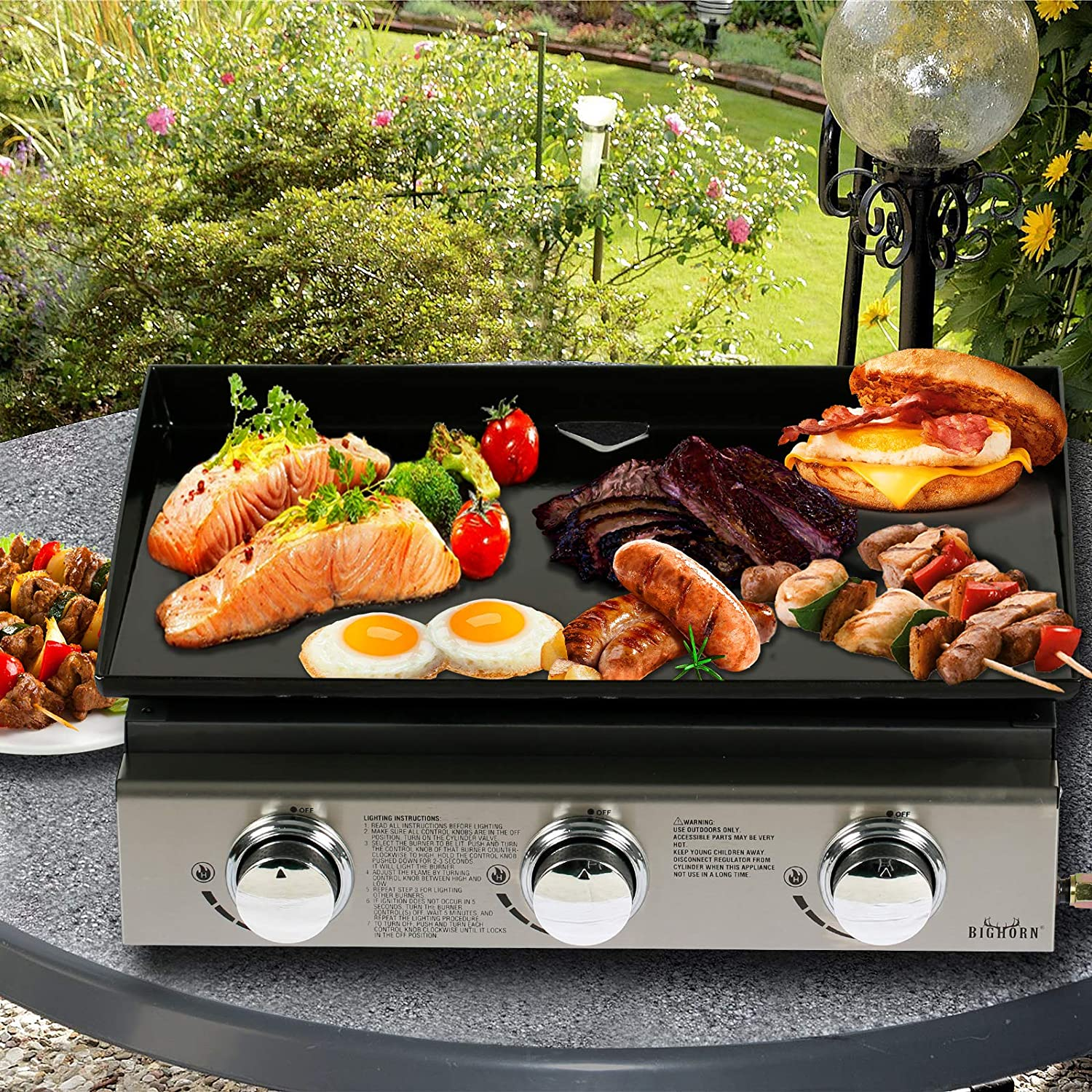BIG HORN OUTDOOR Steak Grill Propane Gas Grills 1500 /°F Heating Portable Stainless Steel BBQ with 19,000 BTU Infrared Burner Tabletop Cooking grill for Garden Patio Commercial Industrial Kitchen