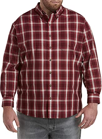 Harbor Bay by DXL Big and Tall Easy-Care Large Plaid Sport Shirt