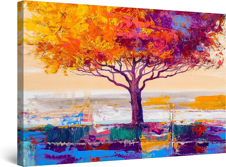 Amazon Com Startonight Canvas Wall Art Abstract Lonely Rainbow Tree Blue Orange Painting Framed 32 X 48 Posters Prints