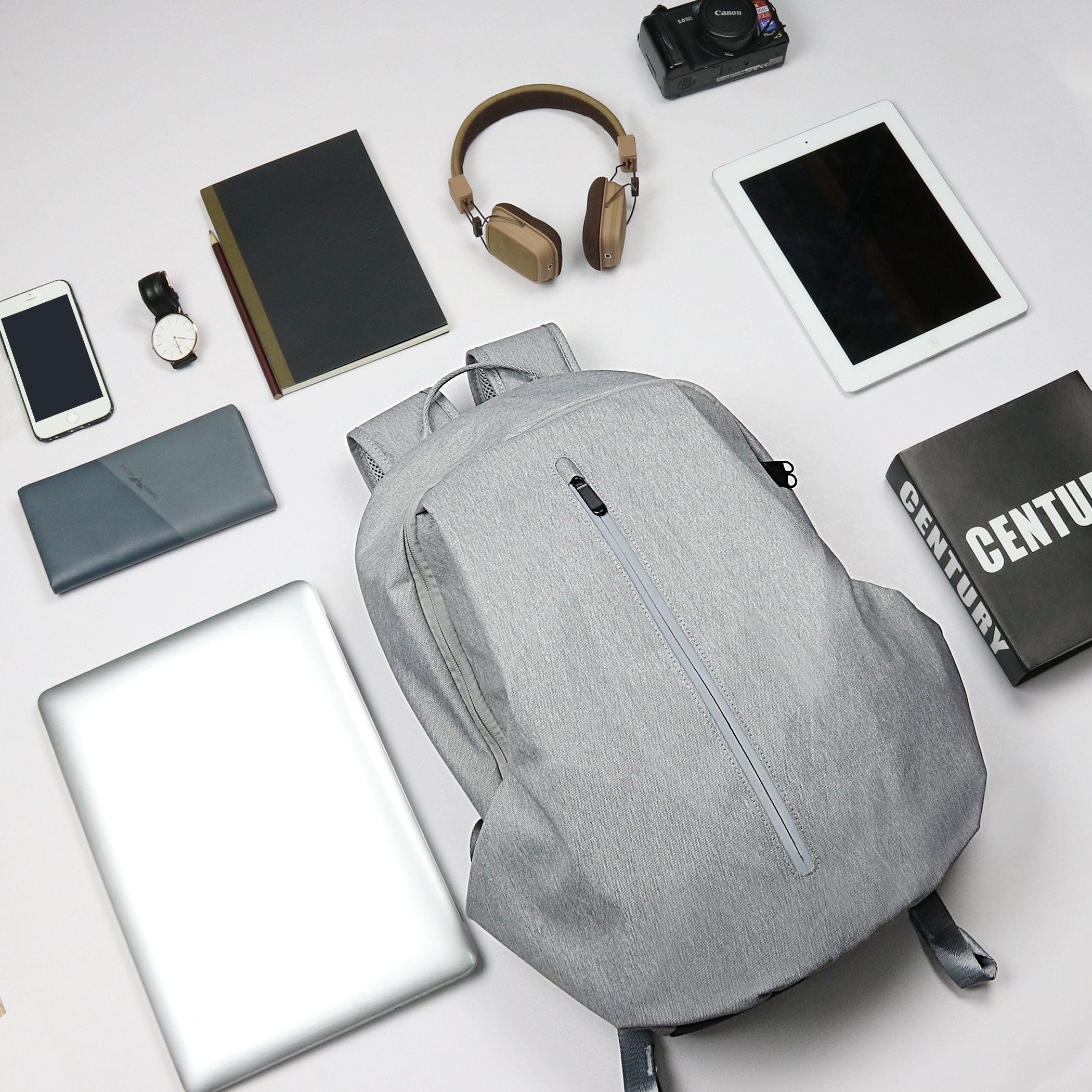 Tektalk Business Anti-theft Multifunctional Laptop Backpack, with USB Cable and Coded Lock, Durable & Lightweight, Suitable for Laptops up to 15.6 inches, for School / Travel / Work (Light Gray) by Tektalk (Image #8)