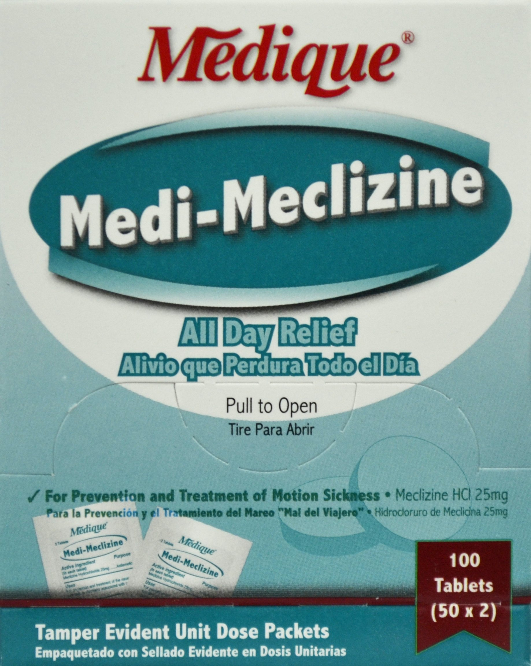 Medique Medi-Meclizine For Motion Sickness [500 Pieces] - Product Description - 2 Tablets In Travel Size Individually Sealed Packet. 25 Mg. For The Prevention And Treatment Of The Nausea, Vomiting, Or Dizziness Associated With Motion Sickness. ...