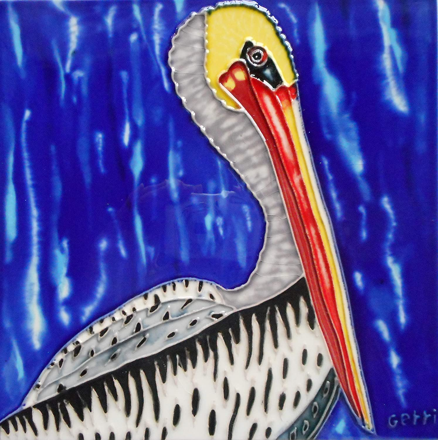 Tile Craft Pelican Hand Painted Ceramic Art Tile 8 x 8 inches with Easel Back